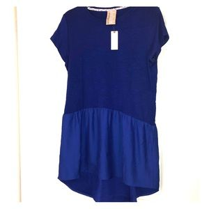 Anthropologie Royal blue dropped waist blouse